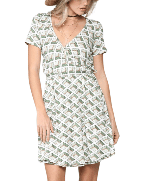 Geo Olive + White Wrap Dress - Hudson Square Boutique LLC
