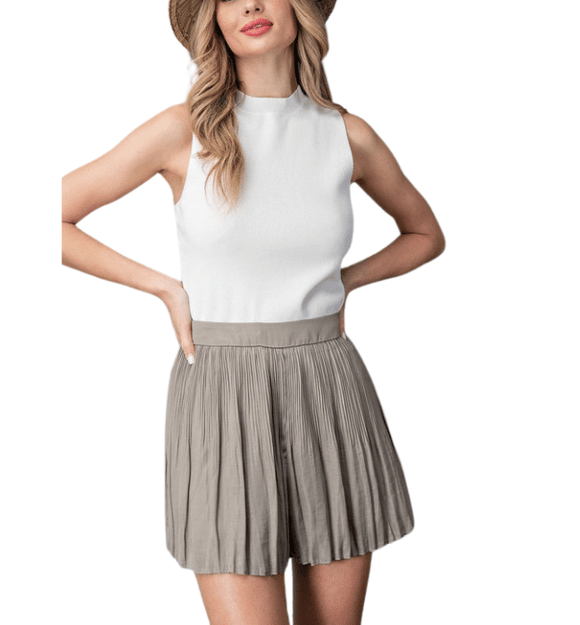 Olive Pleated Skort - Hudson Square Boutique LLC