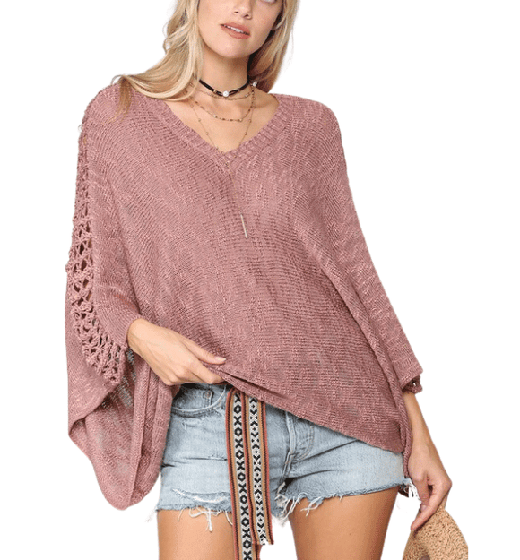 Mauve Crochet Arm Top - Hudson Square Boutique LLC
