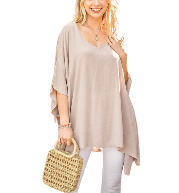 Taupe Cape-Tunic Blouse