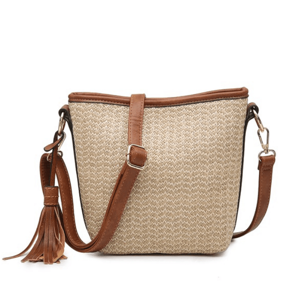 Vegan Straw Crossbody - Hudson Square Boutique LLC