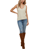 Taupe Double V Knit Tank - Hudson Square Boutique LLC