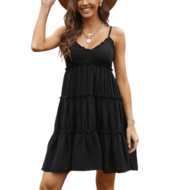 Black Tiered Summer Dress - Hudson Square Boutique LLC