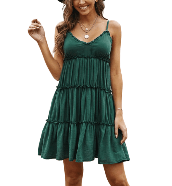 Teal Tiered Summer Dress - Hudson Square Boutique LLC