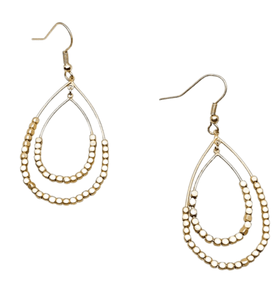 Gold Beaded Tear Drop Earrings - Hudson Square Boutique LLC