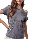 Ashed Gray Open Shoulder Tee - Hudson Square Boutique LLC