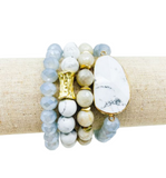 Semi Precious Stone + Glass Bracelet Set - Hudson Square Boutique LLC