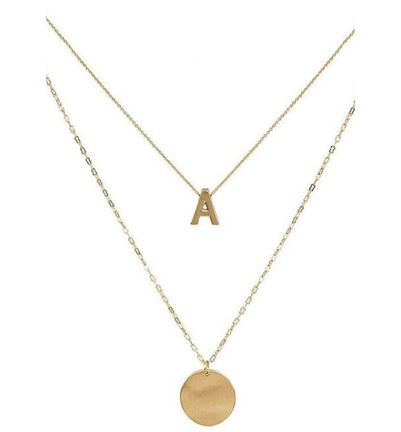 Gold Layered Monogram Letter Necklace - Hudson Square Boutique