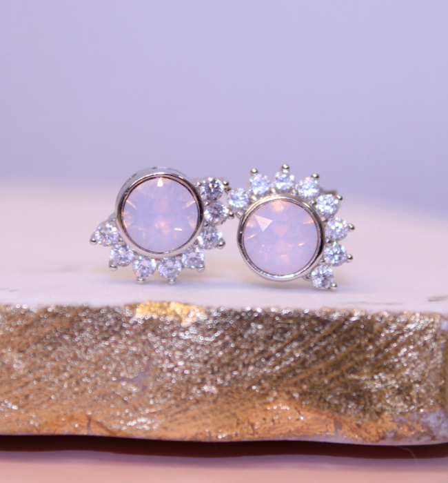 "Chloe + Lois Pink Rosewater Swarovski and Cubic Zirconia ""Lois"" Sterling Silver Stud Earrings"
