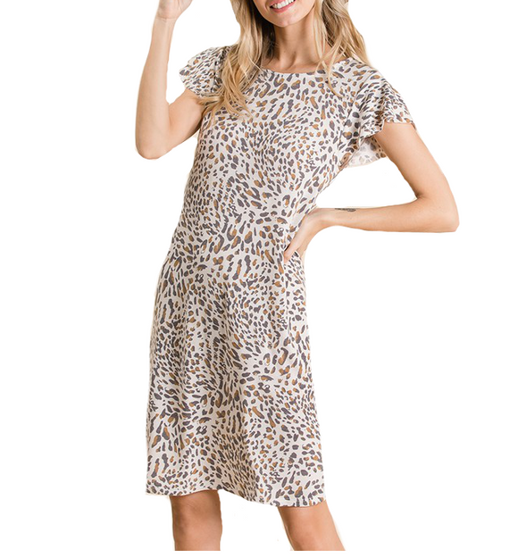 Printed Ruffle Sleeve Dress - Hudson Square Boutique