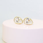 14k Gold Clear Cubic Zirconia Tear Drop Stud Earrings