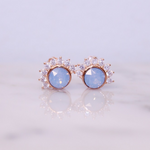 "Chloe + Lois Rose Gold Air Blue Swarovski and Cubic Zirconia ""Lois"" Stud Earrings"