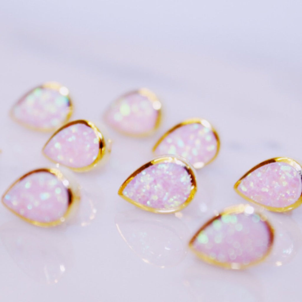 "Chloe + Lois 14k Gold Vermeil Pink Opal ""Drop of Rosé"" Stud Earrings"