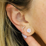 Rose Gold White Opal Stardust Studs