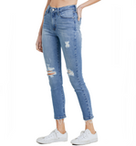Just Black High Rise Destructed Skinny Medium Wash - Hudson Square Boutique