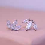 "Sterling Silver Cubic Zirconia ""Crown"" Stud Earrings"