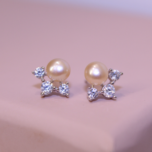 Pink Pearl and Cubic Zirconia Stud Earrings