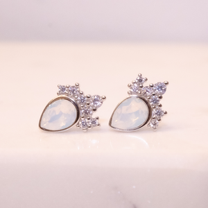 White Opal Swarovski Chloe Stud Sterling Earrings