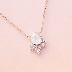White Opal Swarovski Chloe Necklace
