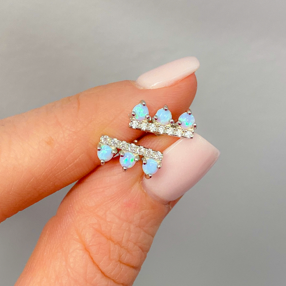 Sterling Silver Pavé Bar and Powder Blue Opal Stud Earrings - Hudson Square Boutique