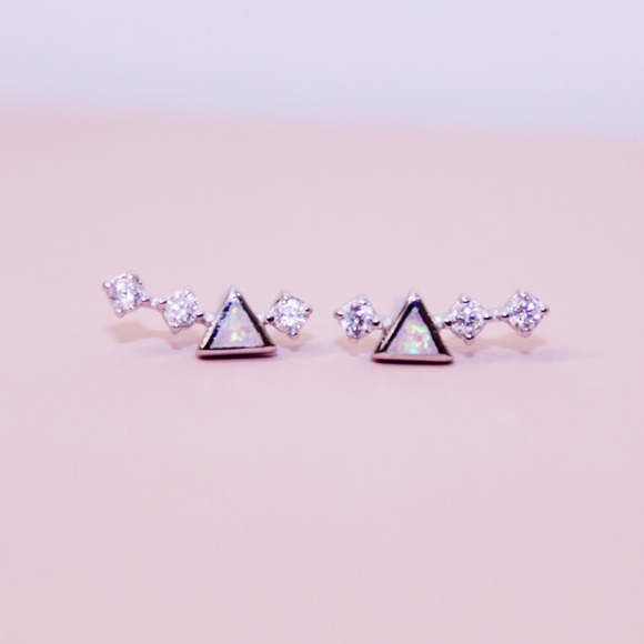 Chloe + Lois Sterling Silver Pink Opal and CZ Mini Ear Climbers - Hudson Square Boutique LLC
