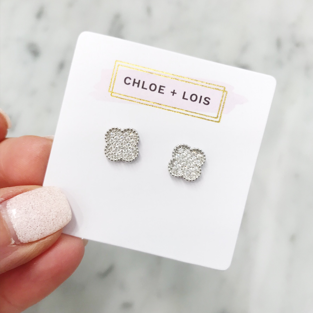 Sterling Silver Pavé Clover Stud Earrings - Hudson Square Boutique