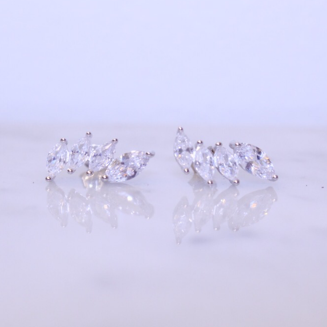 "Chloe + Lois Sterling Silver CZ ""Crown"" Ear Climbers"