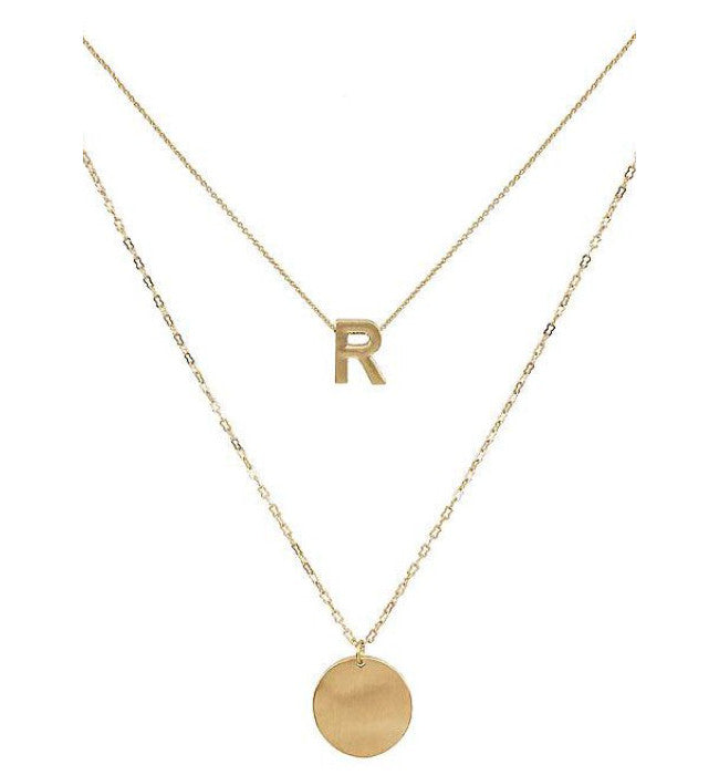 Gold Layered Monogram Letter Necklace