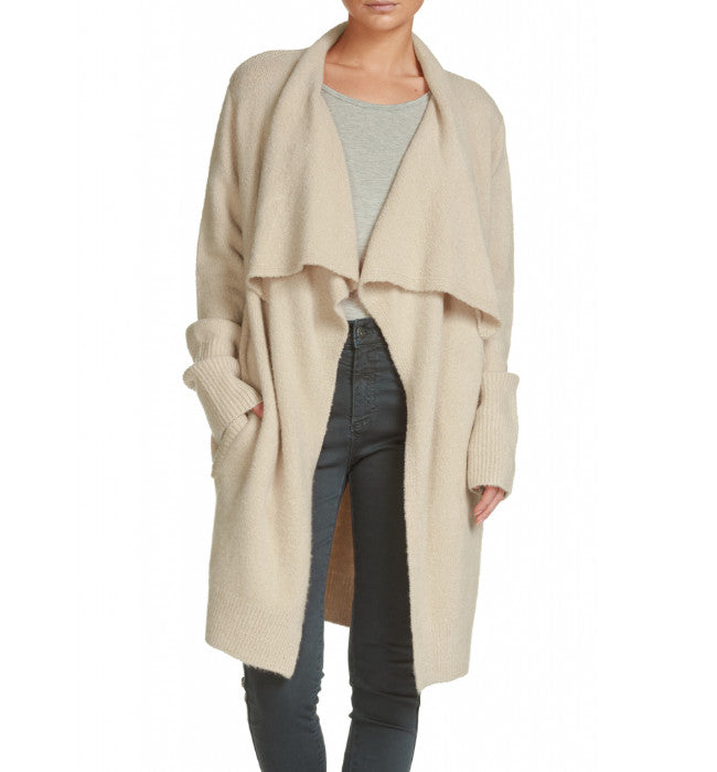 Premium Luxury Draped Lapel Cardigan Oatmeal - Hudson Square Boutique