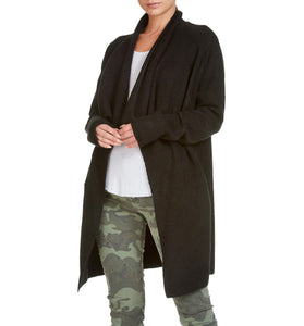 Premium Draped Lapel Cardigan Black