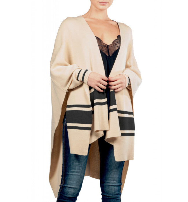 Premium Striped Poncho Cardigan with Sleeves Tan