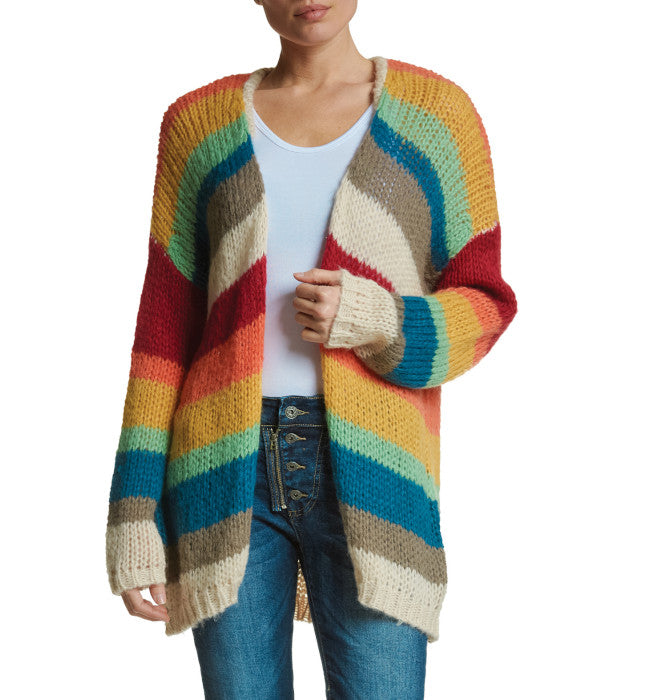 Premium Rainbow Striped Cardigan Sweater
