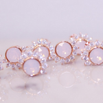 "Chloe + Lois Pink Rosewater Swarovski and Cubic Zirconia ""Lois"" Rose Gold Stud Earrings"