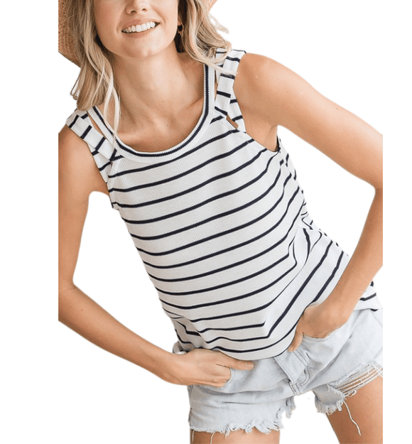 Navy + White Striped Tank - Hudson Square Boutique LLC