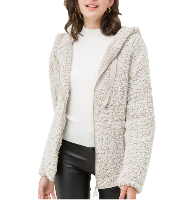 Full Zip Sherpa with Hood - Hudson Square Boutique