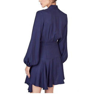 Long Sleeve Wrap Dress in Navy