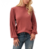 Berry Mock Neck + Lace Sleeve Top