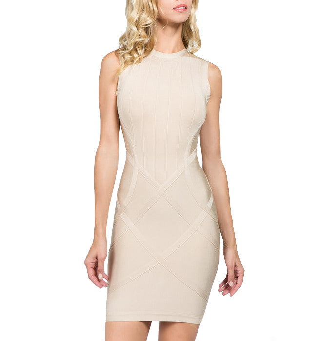 Beige Bandage Cocktail Dress