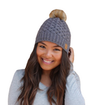 Basket Weave Fleece Lined Pom Hat