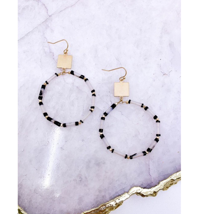 Beaded Drop Statement Earrings