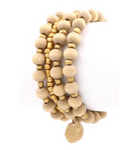 Gold and Nude Beaded Stretch Bracelet