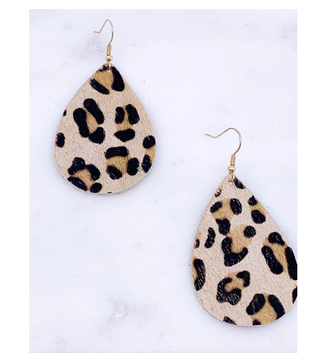Leopard Leather Textured Drop Earrings
