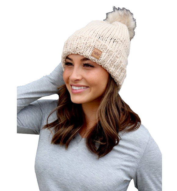 Cream Cable Knit Fleece Lined Hat