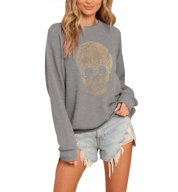 Gray Skull Studded Sweatshirt