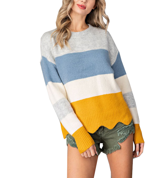 Blue + Mustard Scalloped Hem Sweater