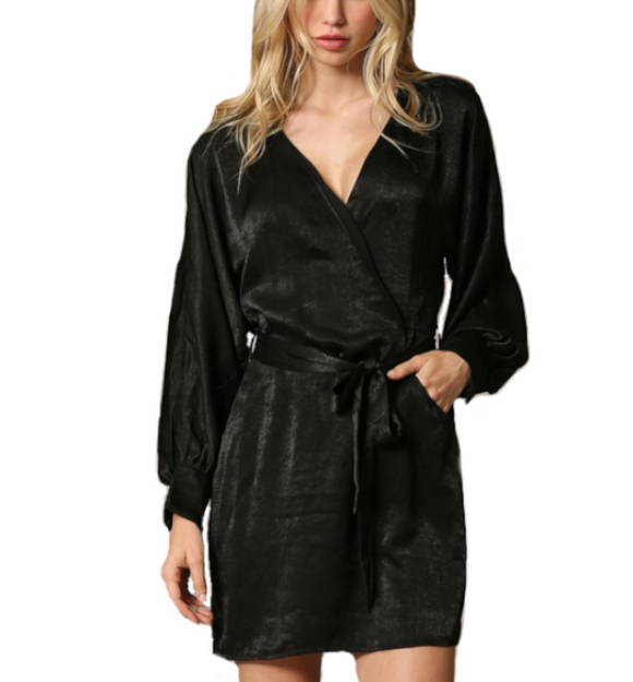 Wrapped in Satin Dress - Hudson Square Boutique
