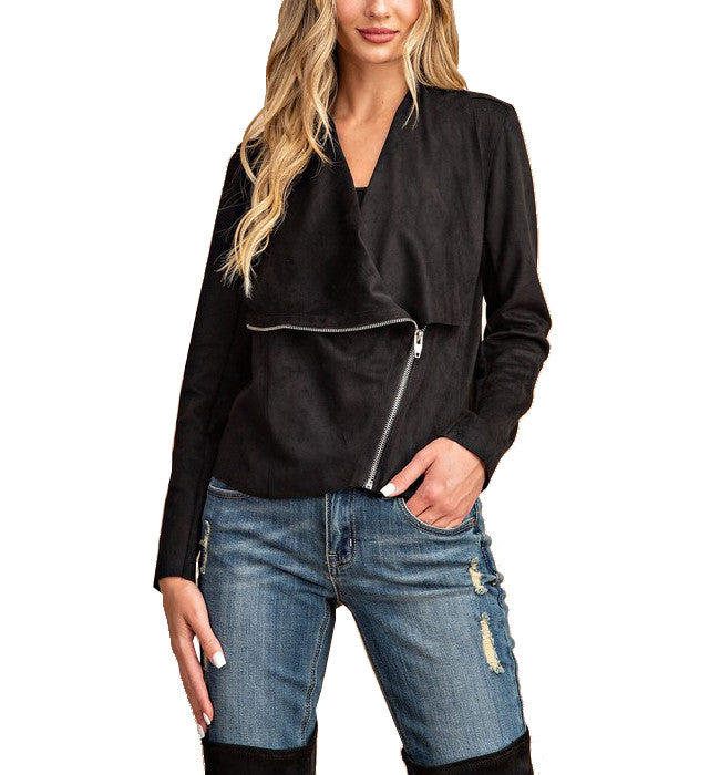 Asymmetrical Faux Suede Jacket Black