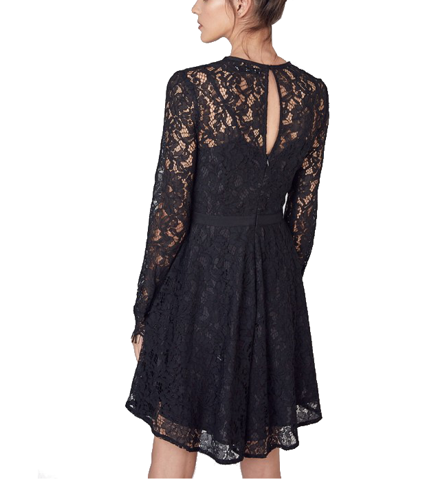 Open Back Flared Lace Dress