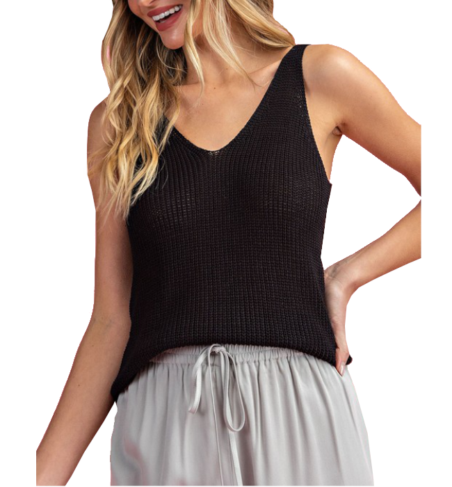 Knit V Neck Tank Top in Black