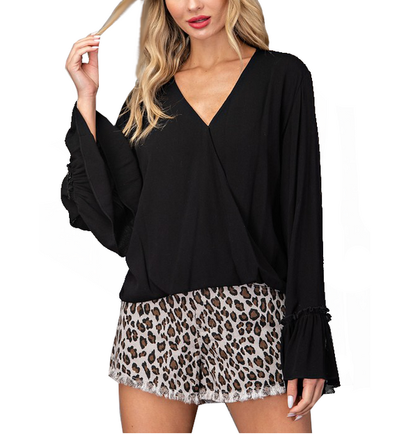Black Bell Sleeve Top - Hudson Square Boutique